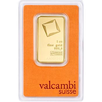 1oz Valcambi Minted Gold Bullion Bar (Brand New Bars)