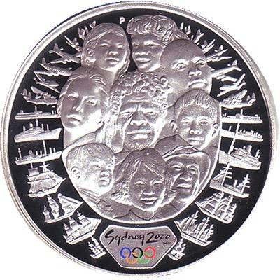1 oz 2000 Sydney Olympics A Sea Change 2 Silver Coin (Ex Set)