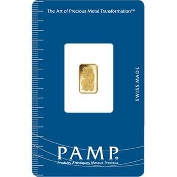 1 gram PAMP Suisse Minted Gold Bullion Bar