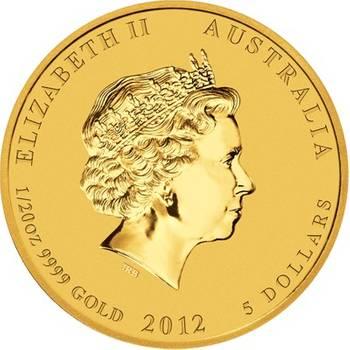 1/20 oz 2012 Australian Lunar Year of the Dragon Gold Bullion Coin