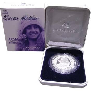 1 oz  1900-2002 The Queen Mother $5 Silver Coin