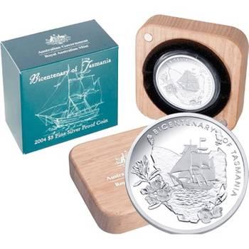 2004 Australia Tasmanian Bicentennial Five Dollars Silver Proof Coin