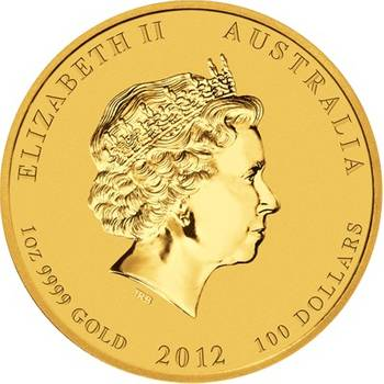 1 oz 2012 Australian Lunar Year of the Dragon Gold Bullion Coin