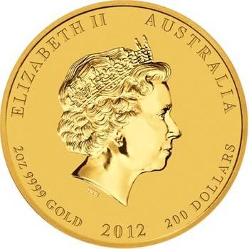 2 oz 2012 Australian Lunar Year of the Dragon Gold Bullion Coin