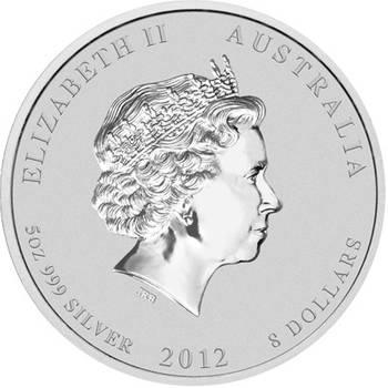5 oz 2012 Australian Lunar Year of the Dragon Silver Bullion Coin