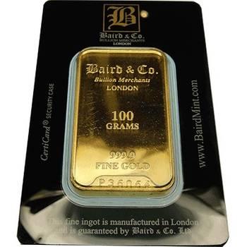 100gram Baird & Co Minted Gold Bullion Bar (Brand New Bars)