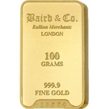 100gram Baird & Co Minted Gold Bullion Bar