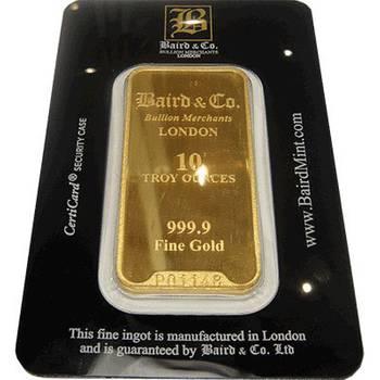 10 oz Baird & Co Minted Gold Bullion Bar