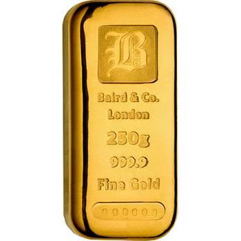 250gram Baird & Co Cast Gold Bullion Bar