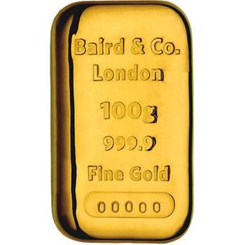 100gram Baird & Co Cast Gold Bullion Bar (Brand New Bars)