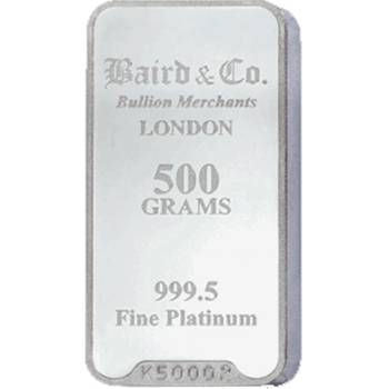 500gram (1/2kg) Baird & Co Minted Platinum Bullion Bar (Brand New Bars)