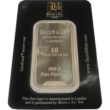 10oz Baird & Co Minted Platinum Bullion Bar (Brand New Bars)