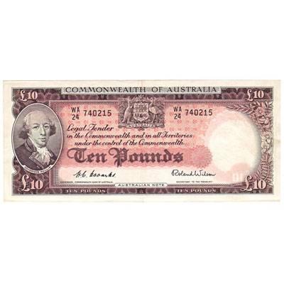 1954 Australia R. 62 Ten Pounds Queen Elizabeth II Coombs/Wilson Australian Predecimal Banknote