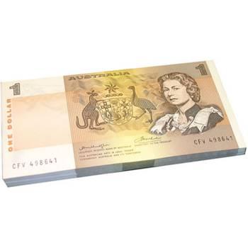 1976 Australia R. 76A One Dollar Knight/Wheeler Centre Thread Mint Bundle Australian Decimal Banknote