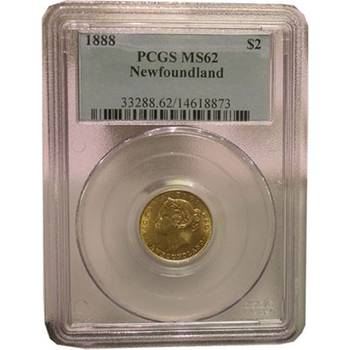 1888 Canada Newfoundland Two Dollars Gold Coin