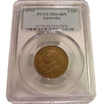 1914 Australia King George V Half Penny PCGS MS64BN