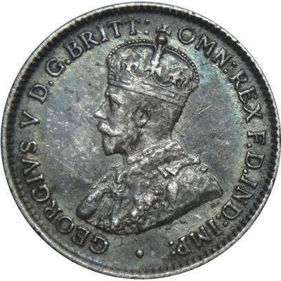 1917 M Australia King George V Threepence Silver Coin
