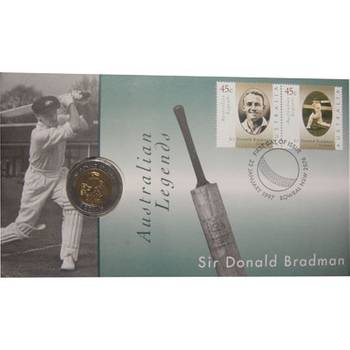 1997 Australia Donald Bradman $5 PNC Set Uncirculated