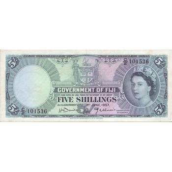 1957 Fiji - Five Shillings - Queen Elizabeth II about Uncirculated