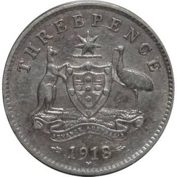 1918 M Australia King George V Threepence Silver Coin