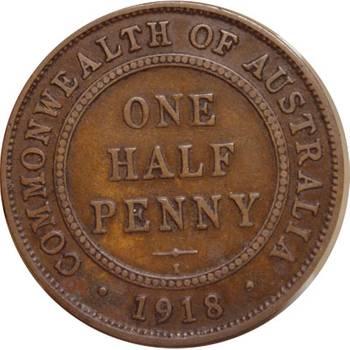 1918 Australia Calcutta King George V Half Penny
