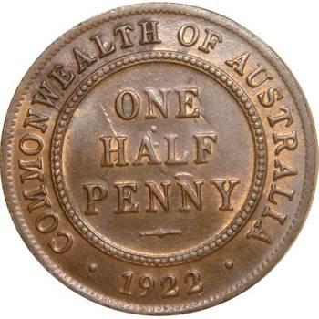 1922 Australia King George V Half Penny Uncirculated