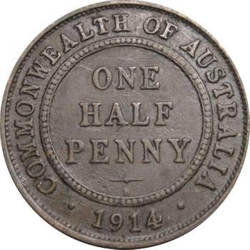 1914 Australia Heaton King George V Half Penny good Fine