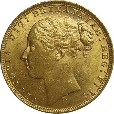 1879 Australia Melbourne Victoria Young Head St George Reverse Gold Sovereign Extra Fine/Good Extra Fine
