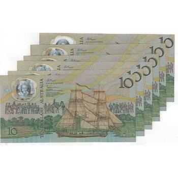 1988 Australia R. 310a Ten Dollars Bicentenary Polymer Commemorative Consecutive Run of 6 Notes