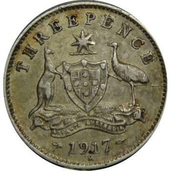 1917 Australia King George V Threepence good Fine/Very Fine