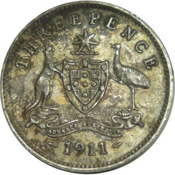 1911 Australia King George V Threepence nearly Fine/Very Fine