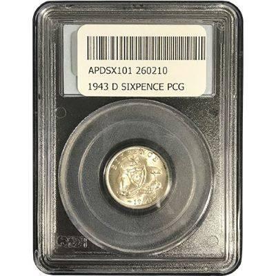 1943 Australia Denver King George VI Sixpence PCGS MS65