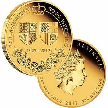 2oz 2017 70th Anniversary of the Royal Wedding Gold Proof Coin