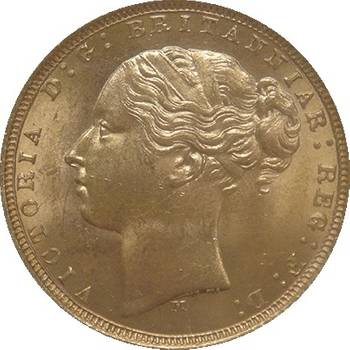 1873 Australia Melbourne Victoria Young Head St George Reverse Gold Sovereign Gem Uncirculated