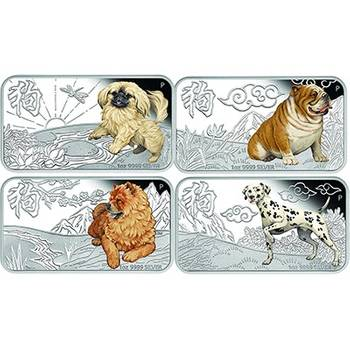 1 oz 2018 Year of the Dog Rectangular Silver Proof Four Coin Set