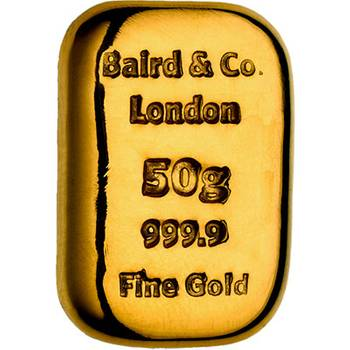 50gram Baird & Co Cast Gold Bullion Bar