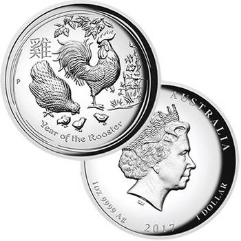 1 oz 2017 Year of the Rooster Silver Proof High Relief Coin
