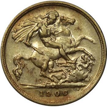 1906 Australia Melbourne King Edward VII St George Reverse Gold Half Sovereign Very Fine