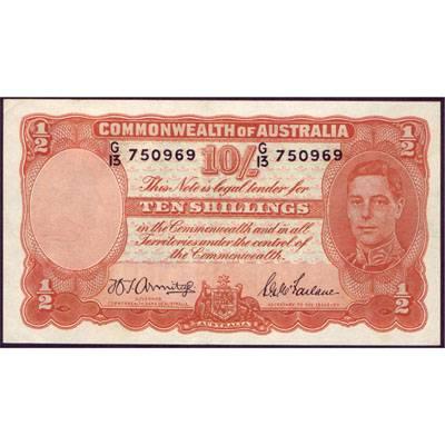 1942 Australia R. 13 Ten Shillings King George VI Armitage/ McFarlane Australian Predecimal Banknote