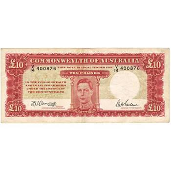 1943 Australia R. 59L Ten Pounds King George VI Armitage/McFarlane Australian Predecimal Banknote