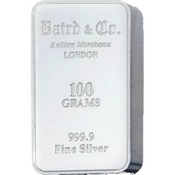 100gram Baird & Co Minted Silver Bullion Bar