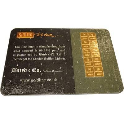 10gram Pack (10x 1g) Baird & Co Minted Gold Bullion Bar Card
