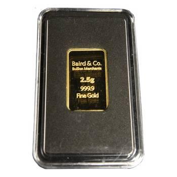 2.5gram Baird & Co Minted Gold Bullion Bar