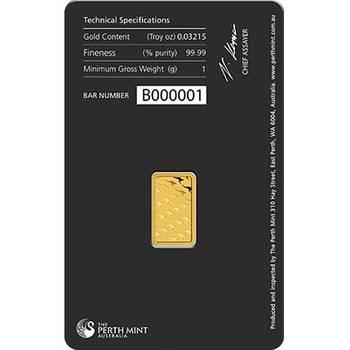 1gram Perth Mint Gold Bullion Minted Bar