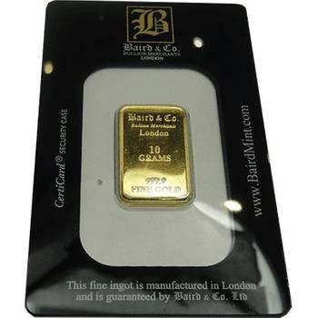 10gram Baird & Co Minted Gold Bullion Bar (Brand New Bars)