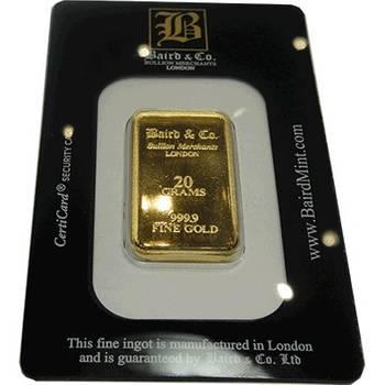 20gram Baird & Co Minted Gold Bullion Bar (Brand New Bars)