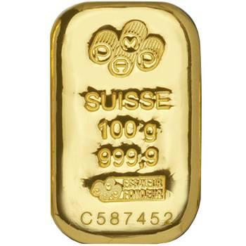 100gram PAMP Suisse Cast Gold Bullion Bar