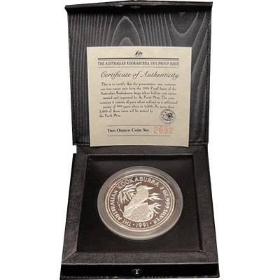 2 oz 1991 Australian Kookaburra Silver Proof Coin