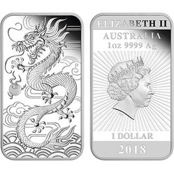 1 oz 2018 Dragon Silver Proof Rectangular Coin