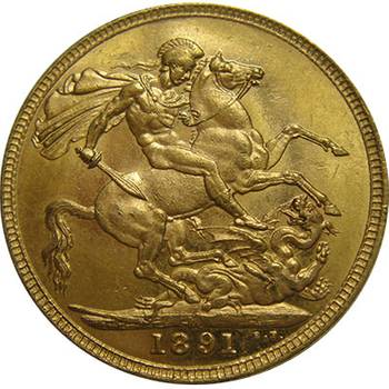 1891 Gold Melbourne Victoria Jubilee Head St George Reverse Sovereign Coin Choice Uncirculated